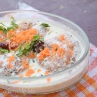 """Thairu Vada""/ Urad Dal( white Lentil ) Fritters in Yogurt curry"