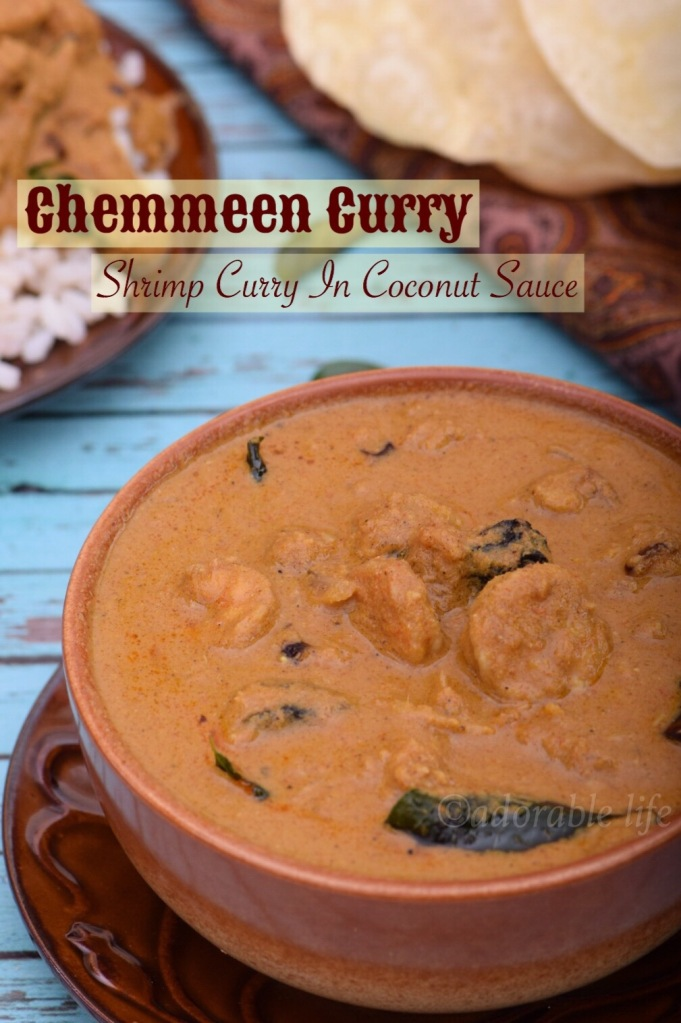 Kerala style Prawns curry in coconut sauce