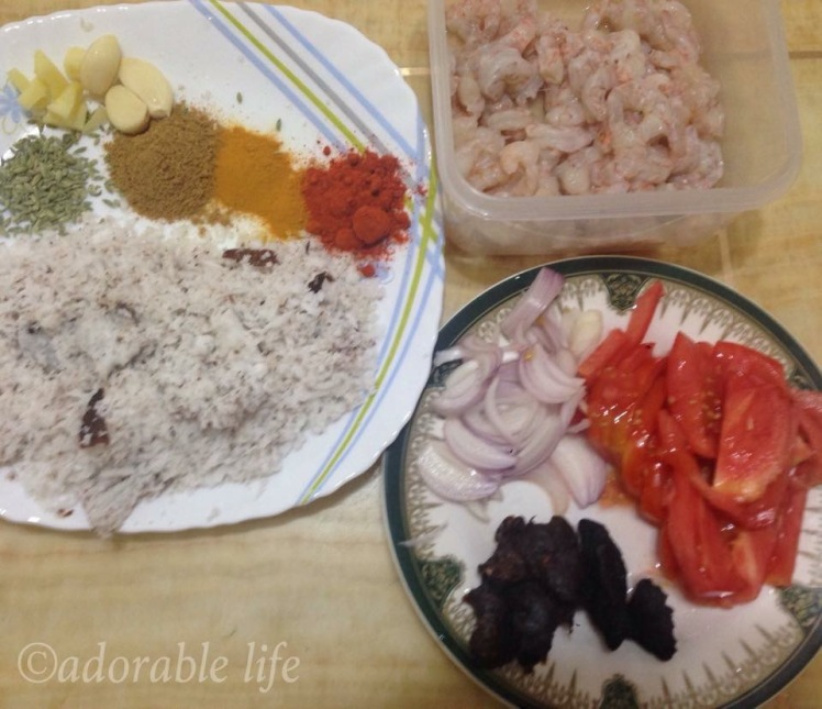 Ingredients for prawns curry